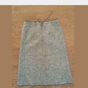 J Crew Brown Wool Blend Tweed Skirt Sz 6